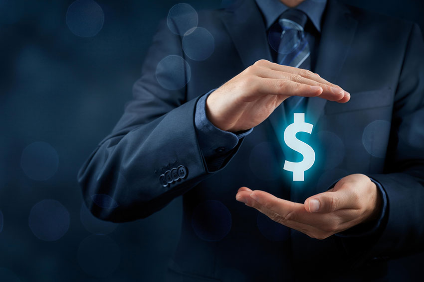 image of a man in a blue suit with a dollar sign between his hands